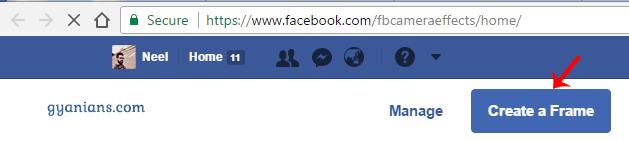 Facebook Profile Picture Frame Create button