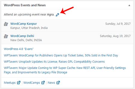 New WordPress Events and News Dashboard Widget