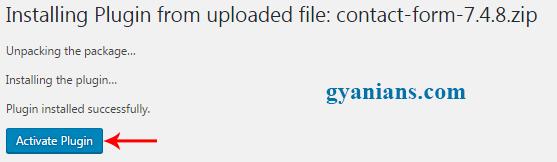 activate uploaded wordpress plugins