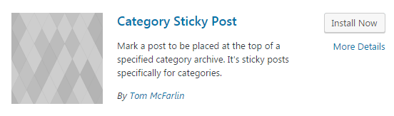category sticky post plugin