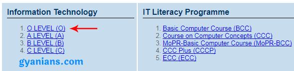click on o level course