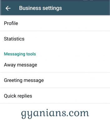 WhatsApp Business app business settings