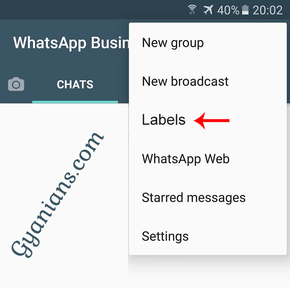 WhatsApp Business app labels feature