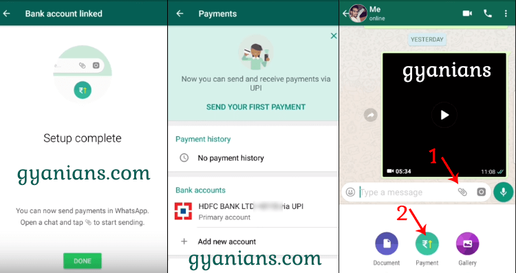WhatsApp UPI Payments Feature step 2