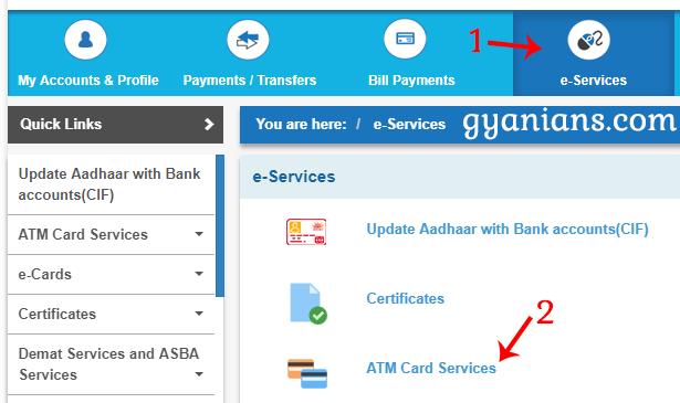 Click e-Services then ATM Card Services