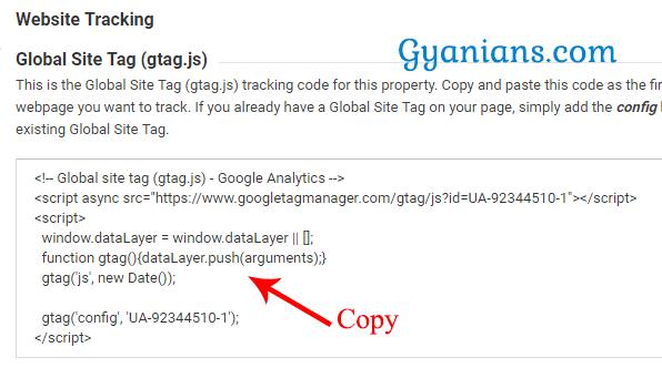 copy analytics website tracking code