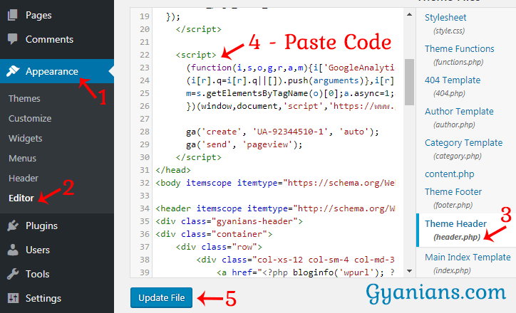 paste analytics website tracking code